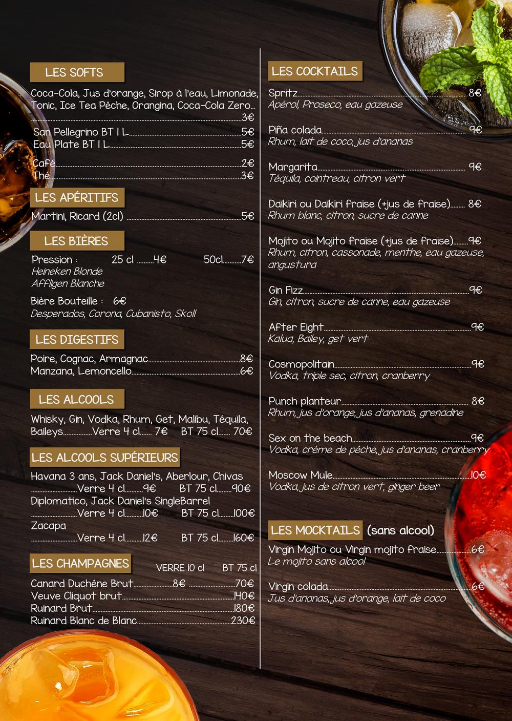 Carte Cocktails Boissons Novembre 2019 - L'atelier du Royal