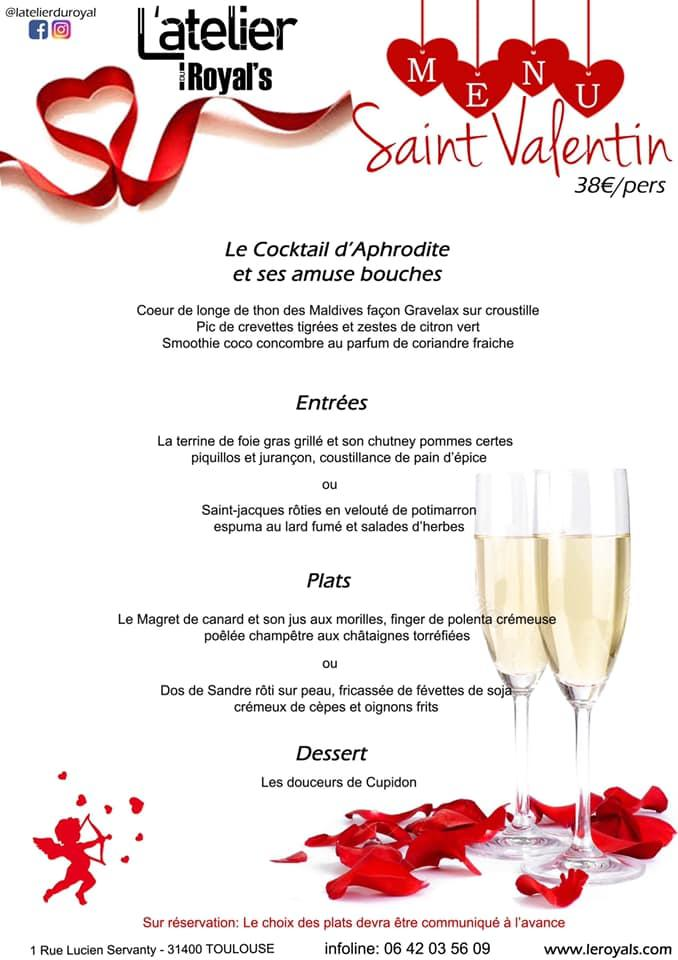 Menu saint valentin l atelier du royal toulouse